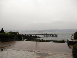 雨の中の桜島フェリー