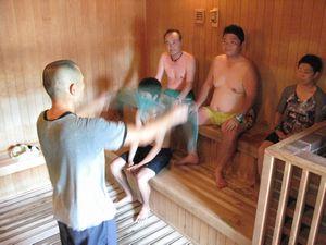 休暇村グループ公共の宿むいかいち温泉ゆ・ら・らのアウフグースの時間